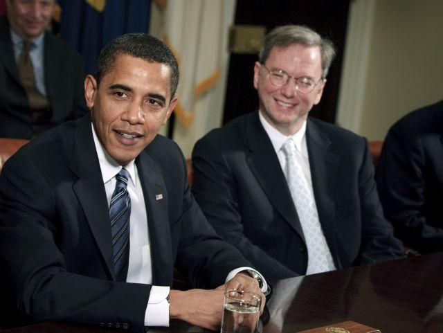 Barack Obama and Eric Schmidt