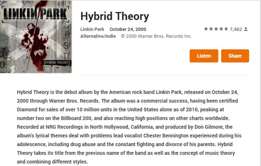 linkin park hybrid theory free download full album