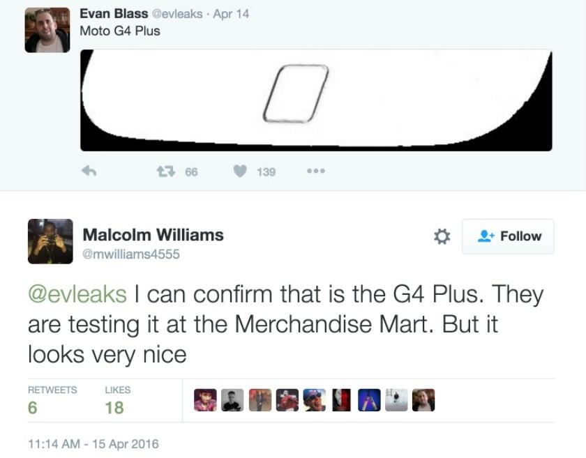 Moto G4 Plus twitter leak