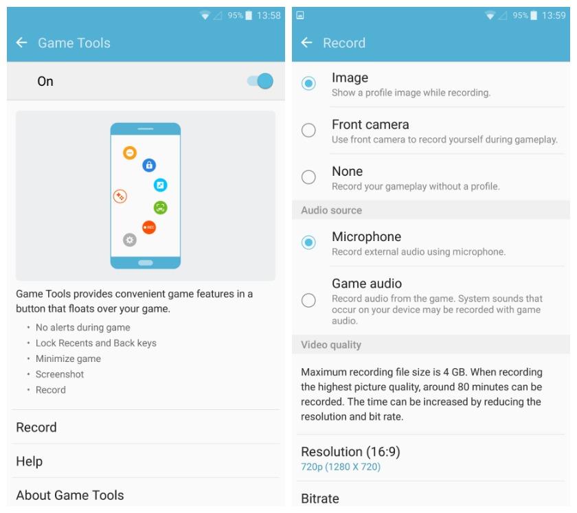 Samsung Game Tools menu