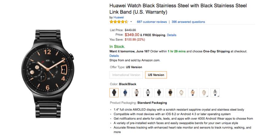 Huawei Watch Amazon deal