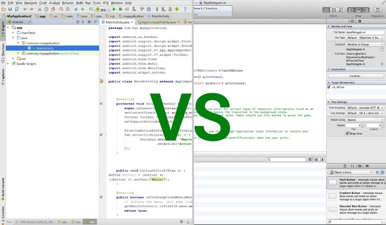 Android studio VS Xcode
