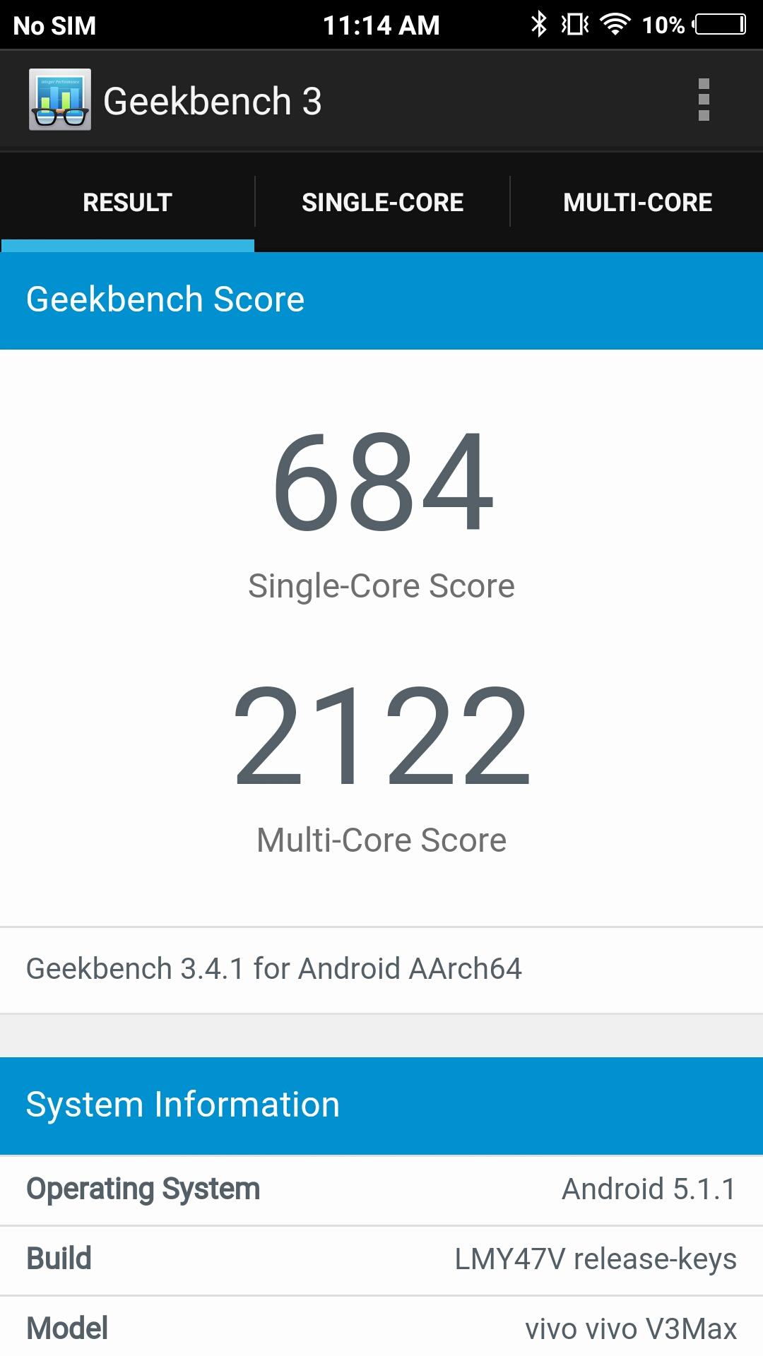 Vivo v3 Max GeekBench Benchmark Score Image