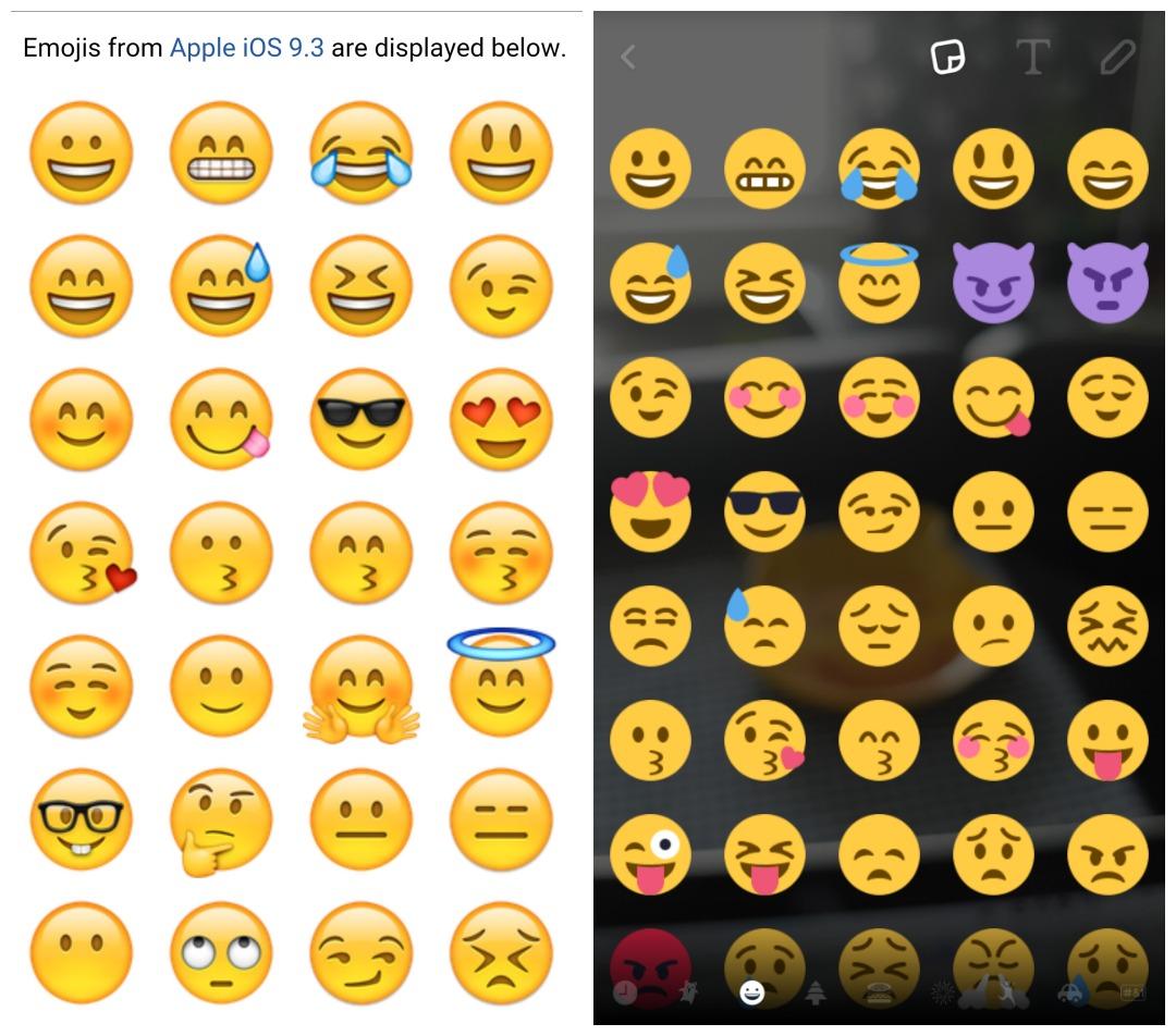 iOS emoji vs Android emoji