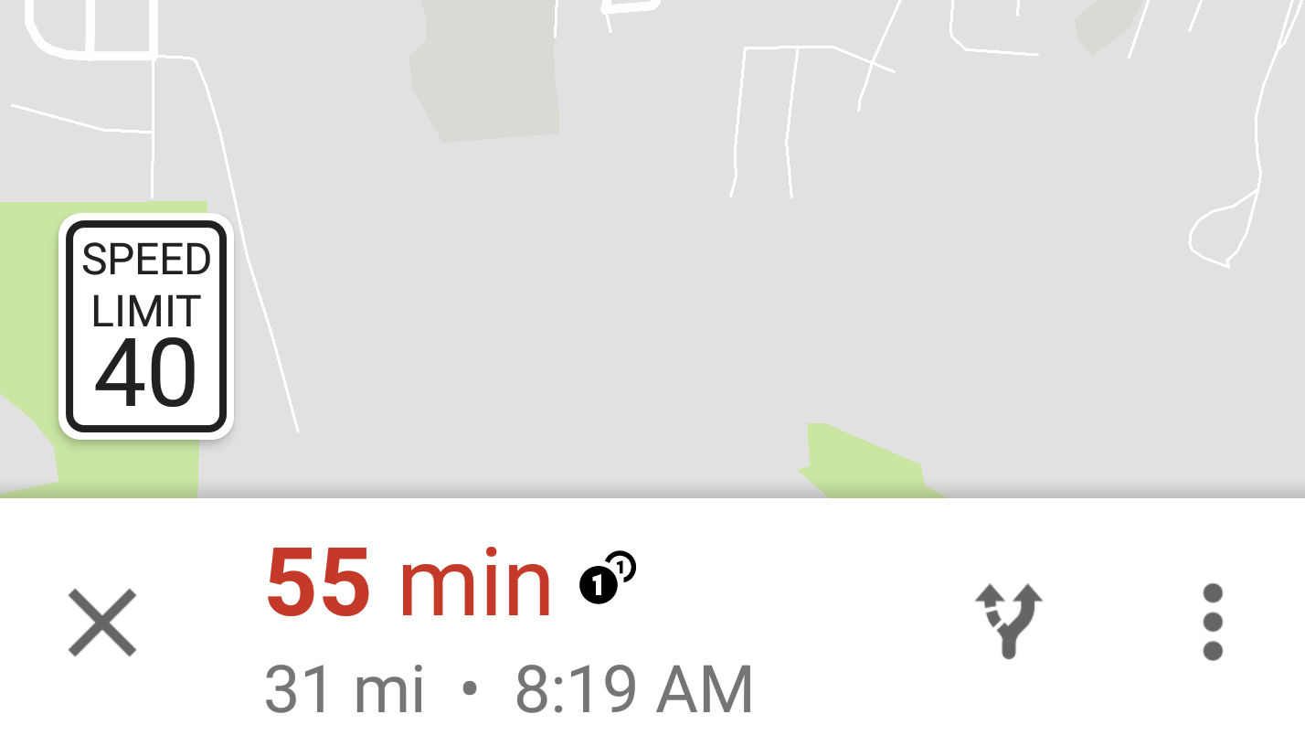 Google Maps speed sign