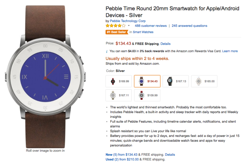 Pebble Time Round Amazon deal