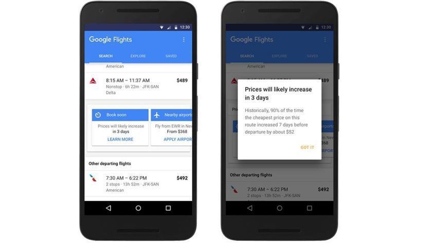 Google Flights will inform you when you can buy the cheapest ticket