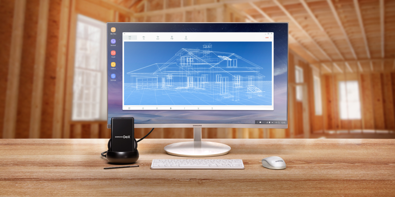 Samsung DeX attached to a screen and peripherals.