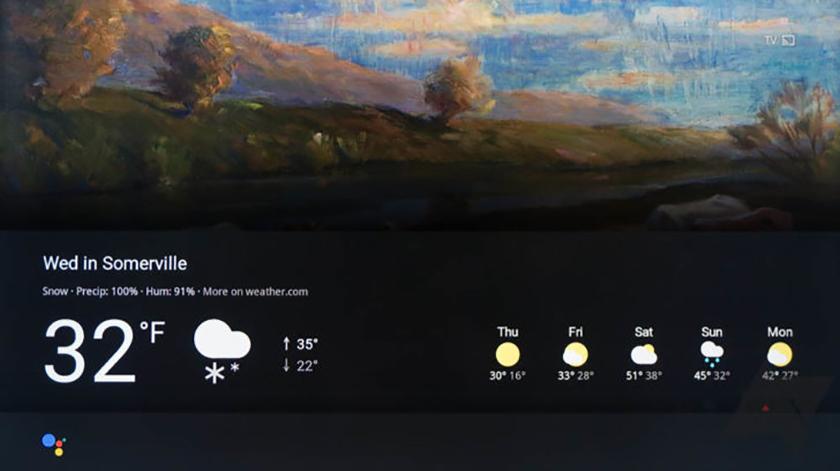 google assistant weather display