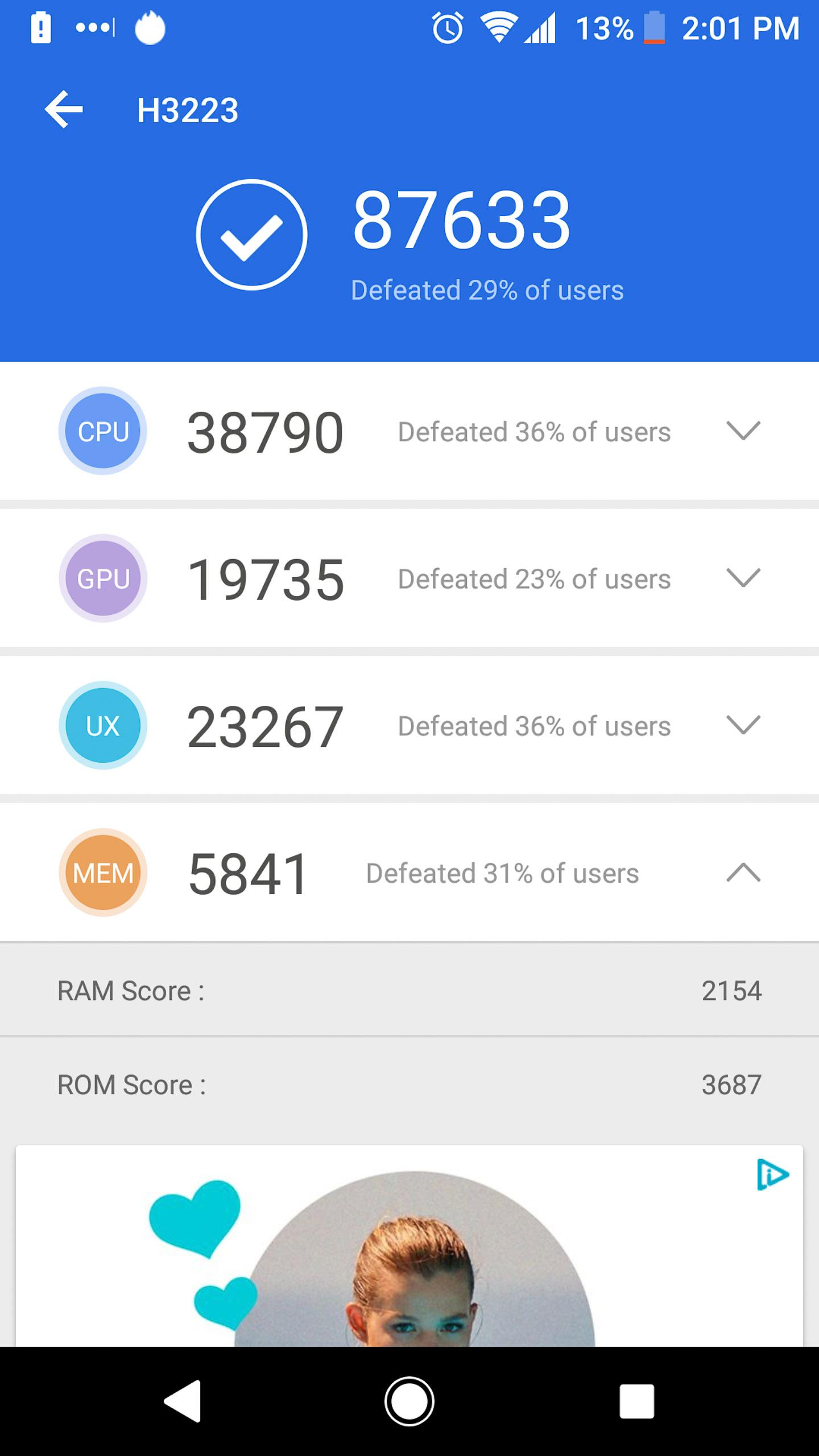 Sony Xperia XA2 Ultra antutu benchmark results