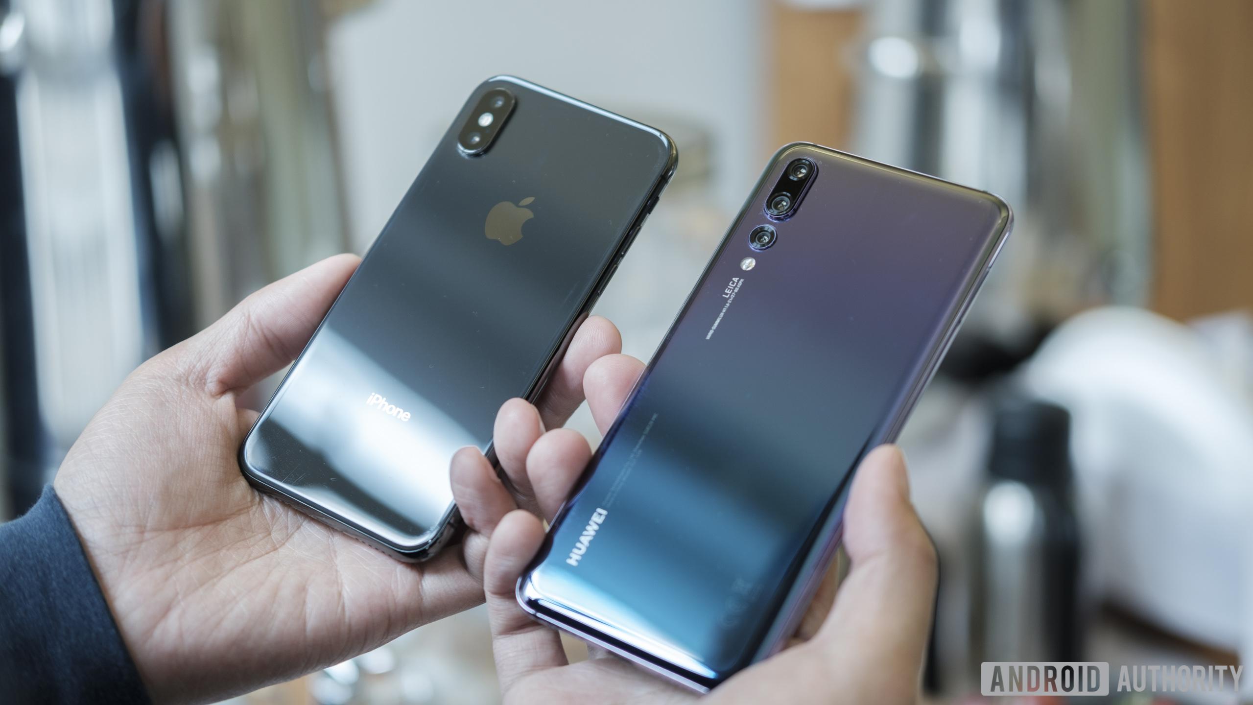 huawei p20 vs iphone x back side