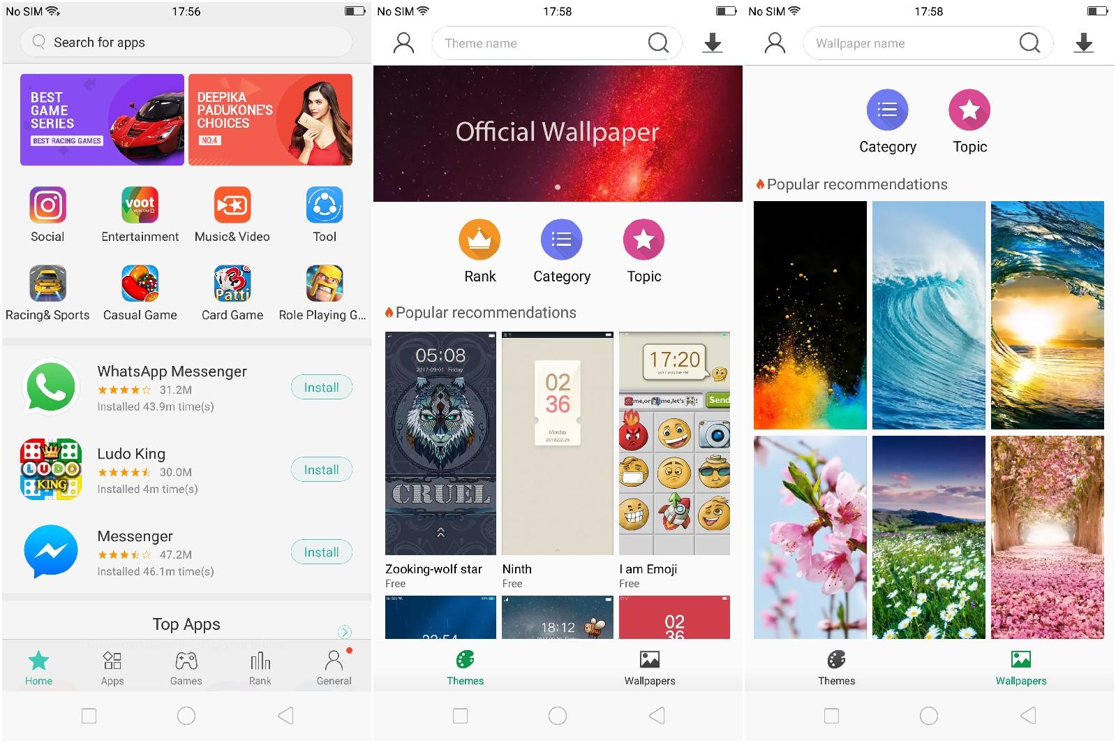OPPO F5 apps