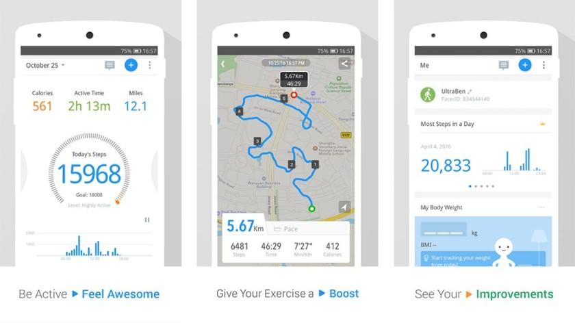 Pacer Health Pedometer dan Penghitung Langkah