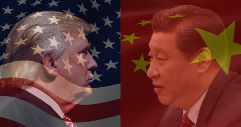 USA vs China flags