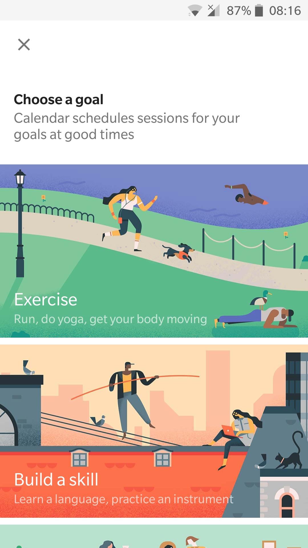 google calendar goals to setup
