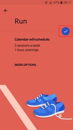 Google's calendar setting for setting