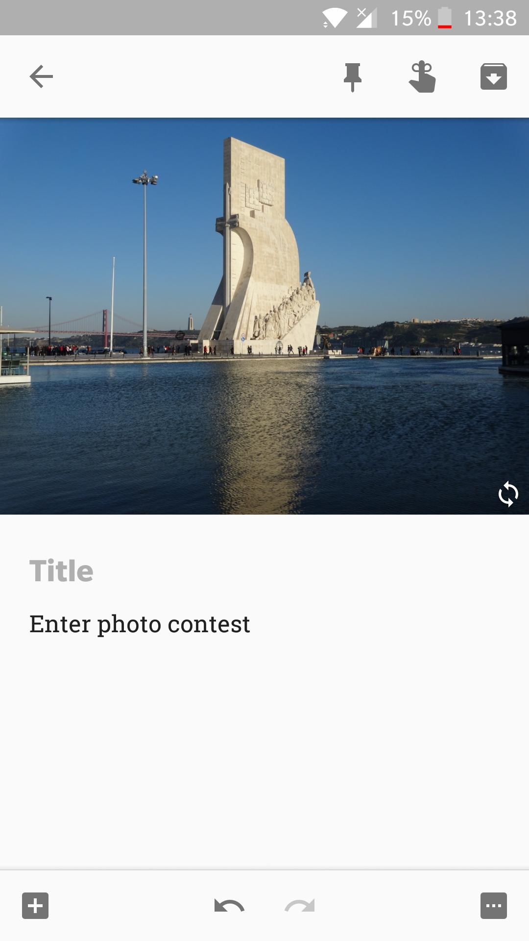 Google Keep capture screen