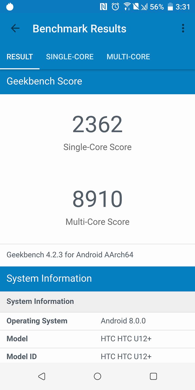 htc u12 plus review performance geekbench