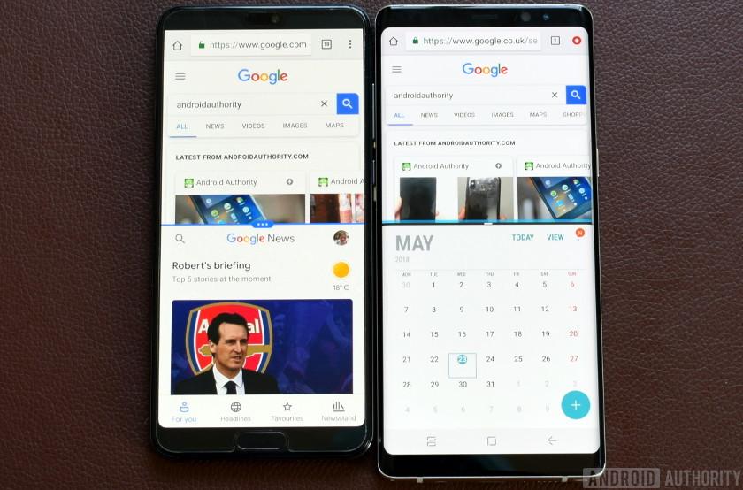 Huawei P20 Pro vs Note 8 display estate