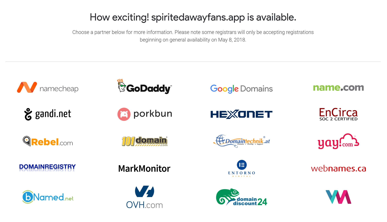 Google .app domain get app page