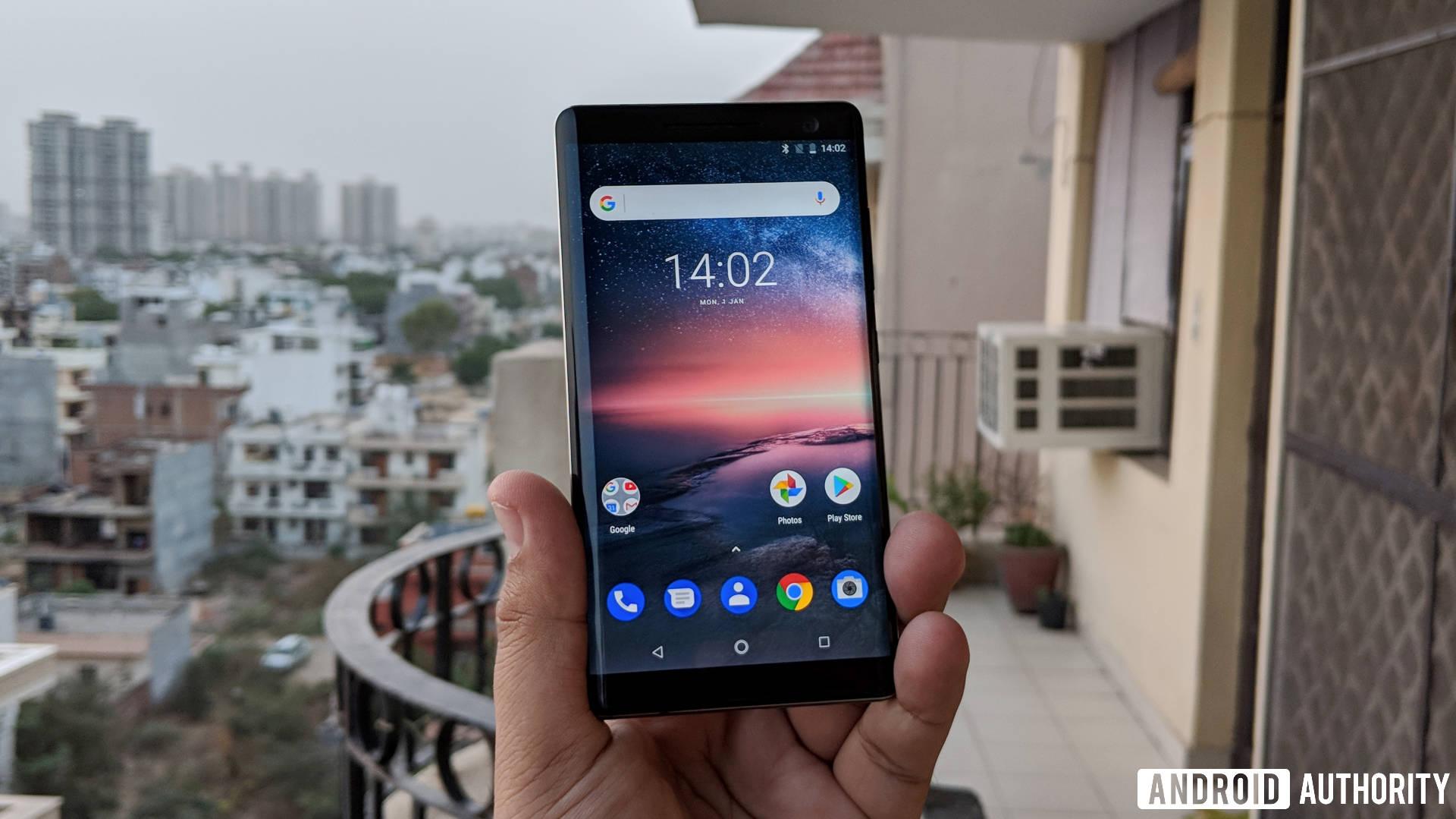 Nokia 8 Sirocco held in hand