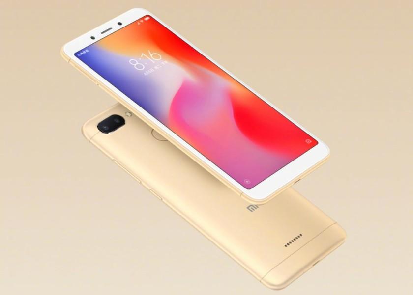 Xiaomi Redmi 6 render imprensa mostrando o dispositivo em ouro contra um fundo dourado.