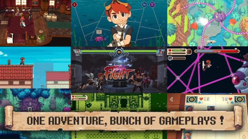 Several screenshots of Evoland 2.