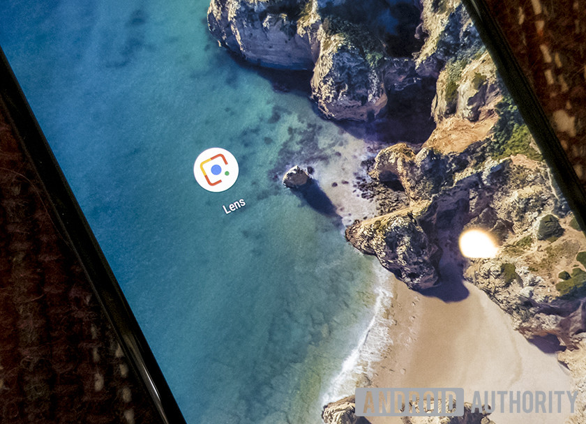 A closeup of the Google Lens icon.