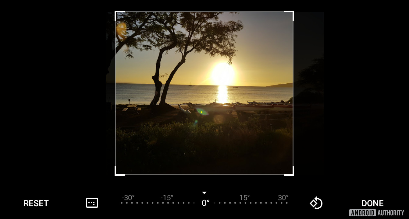 Cropping an image in Google Photos.