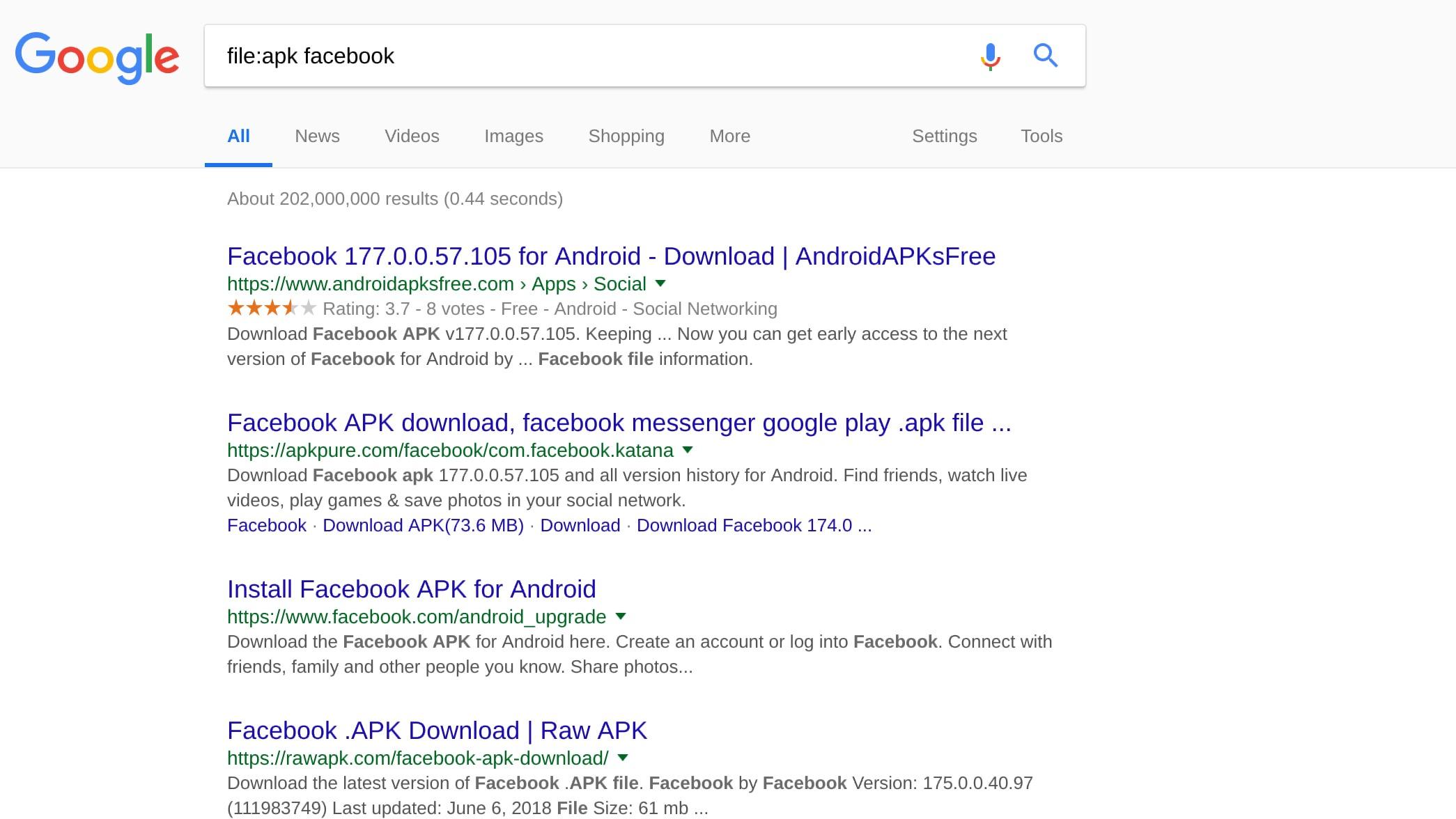 Google search file type example screenshot