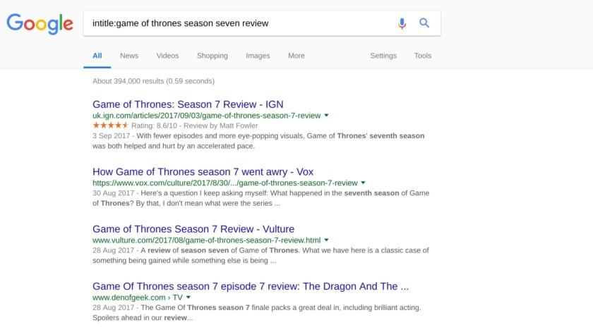 Google Search intitle example screenshot
