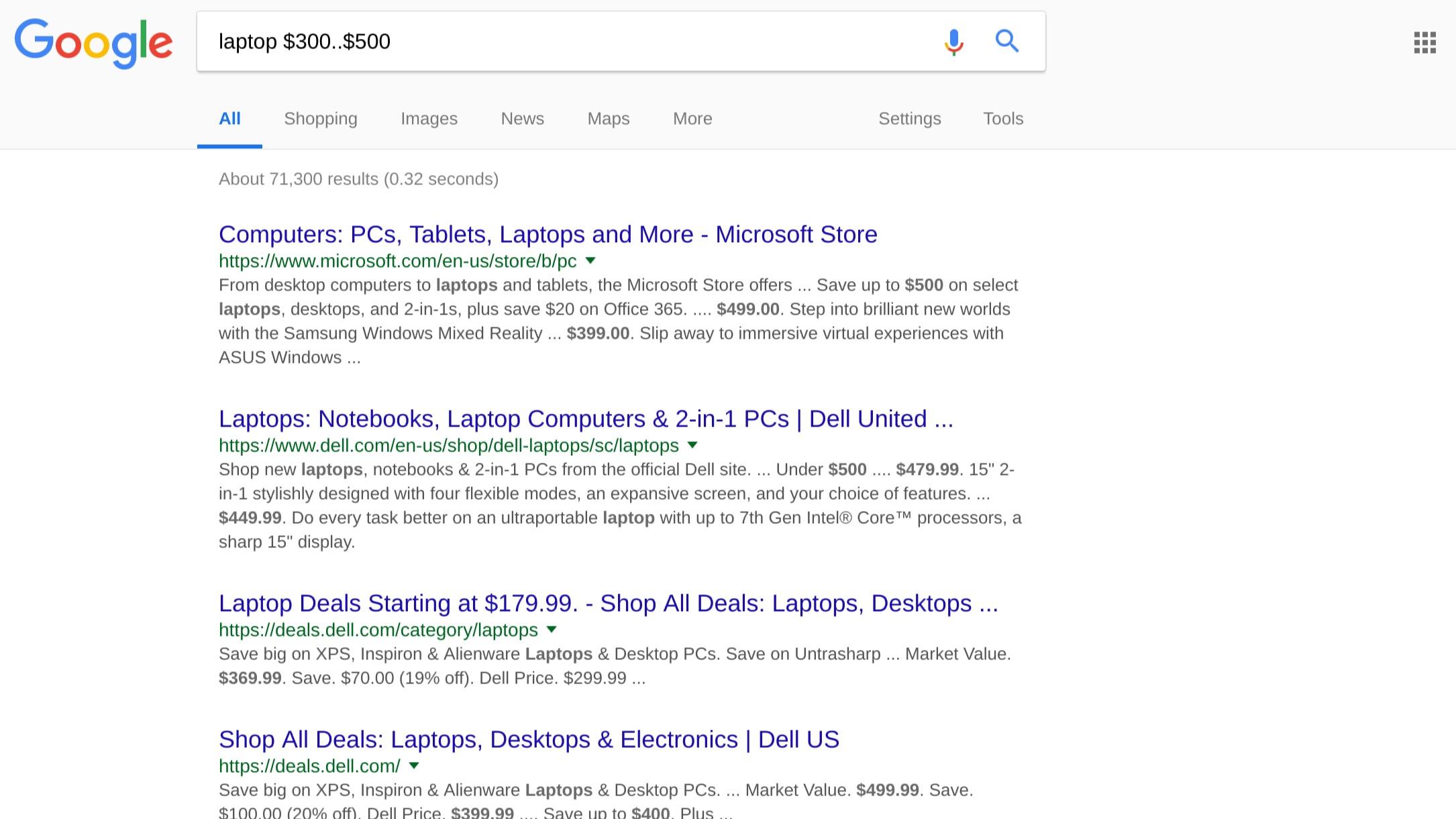 Google Search number range example screenshot