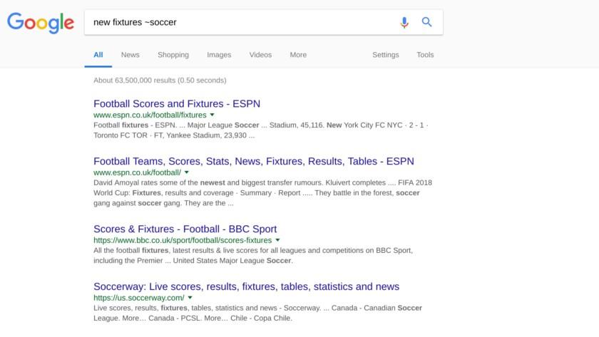 Google Search synonym screenshot