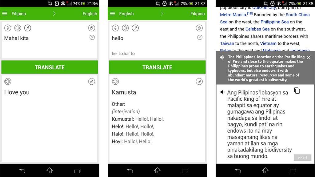 Filipino English Translator - best filipino to english dictionaries for android
