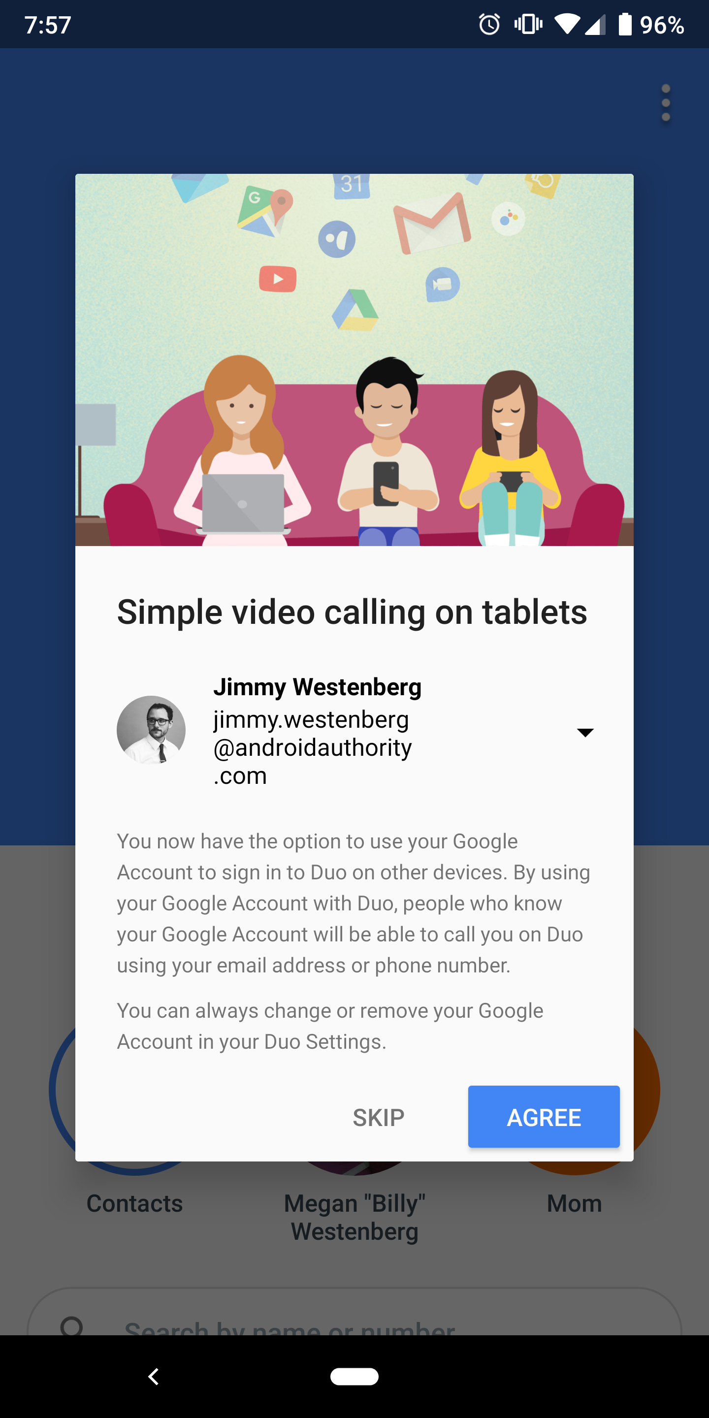 A screenshot of the notification that Google Duo now supports multiple devices.