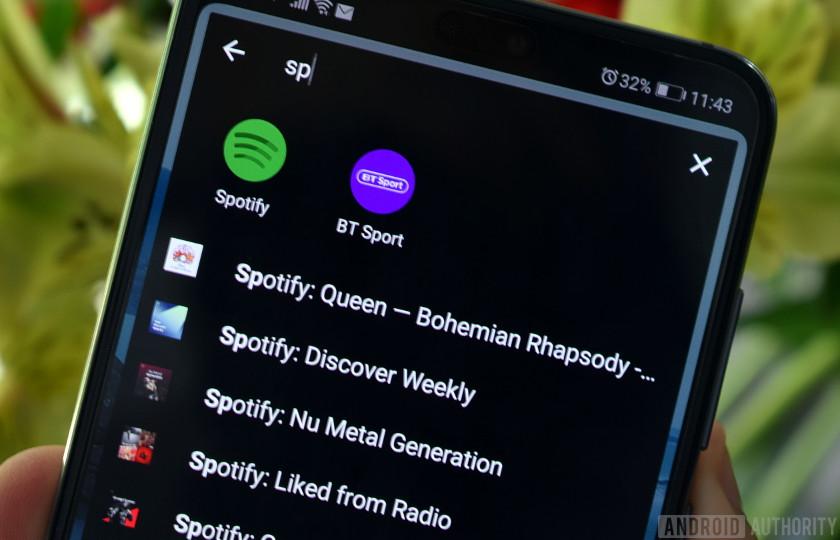 Sesame showing Spotify shortcuts