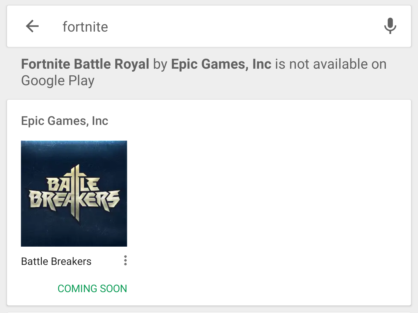A screenshot of the warning one see when searching for Fortnite on the Google Play Store.