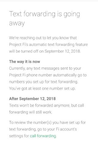 Project Fi Text Forwarding Shutting Down