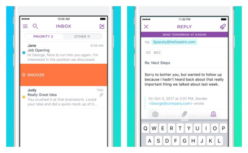 Screenshots of the now-defunct Astro app.