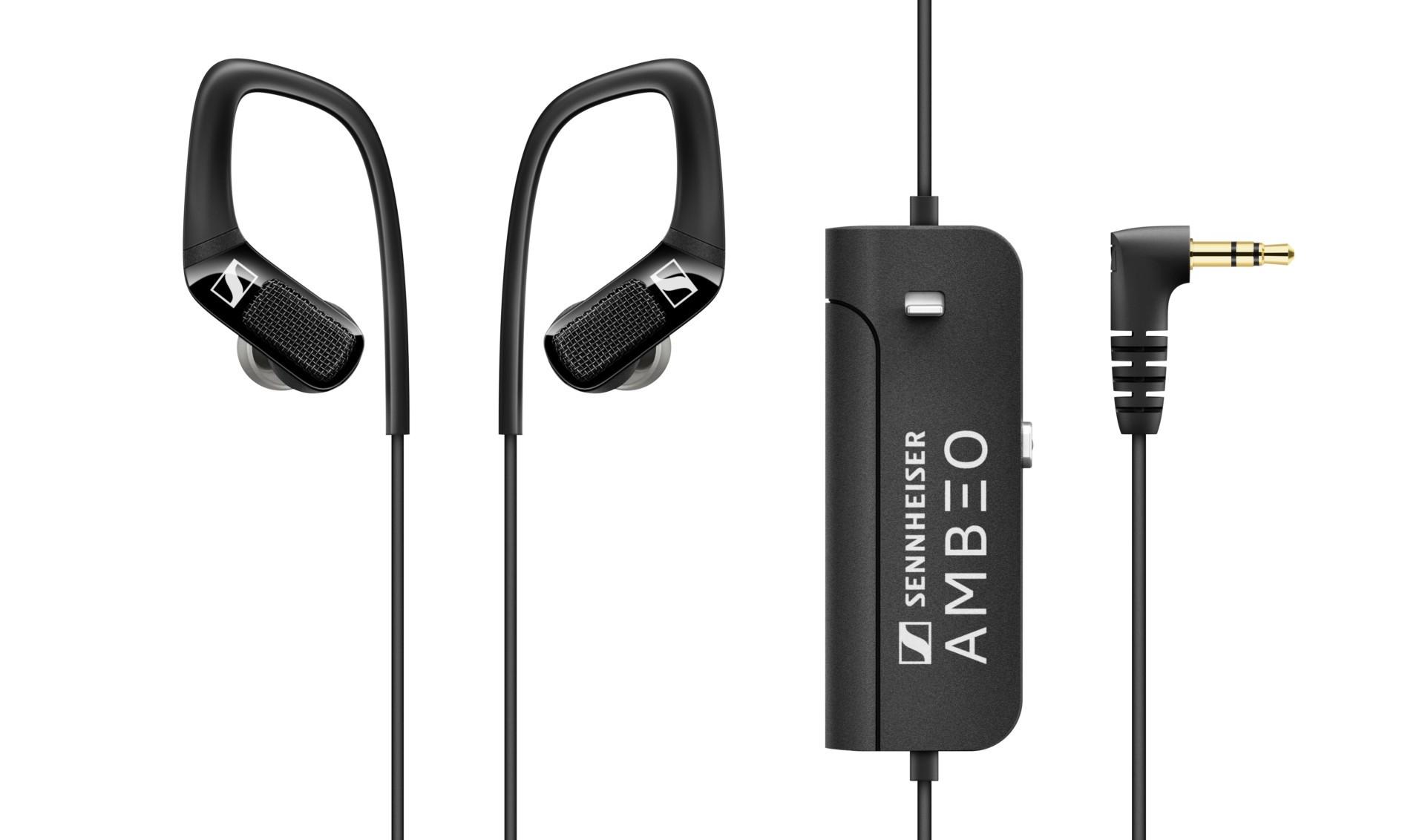 Sennheiser Ambeo AR One earphones product image detailing remote on white background.