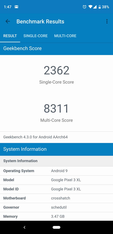Google Pixel 3 XL benchmark - Geekbench 4