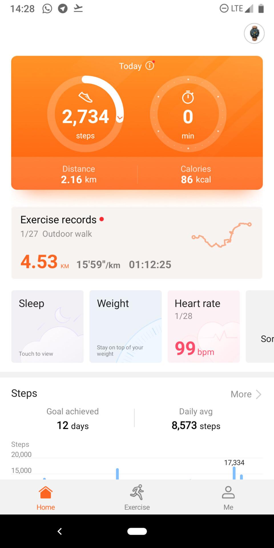 Huawei Health app - dashboard