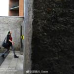 A photo of a women walking.