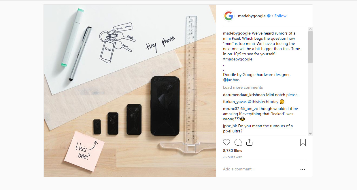 Pixel 3 Mini: Is Google hinting at a third phone or just