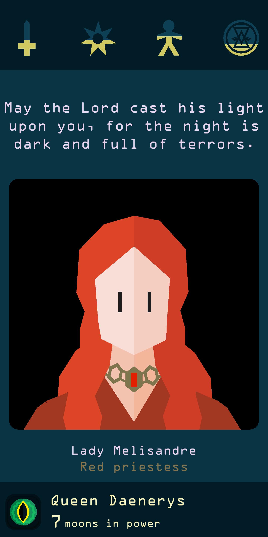 Reigns: Game of Thrones Lady Melisandra card screenshot