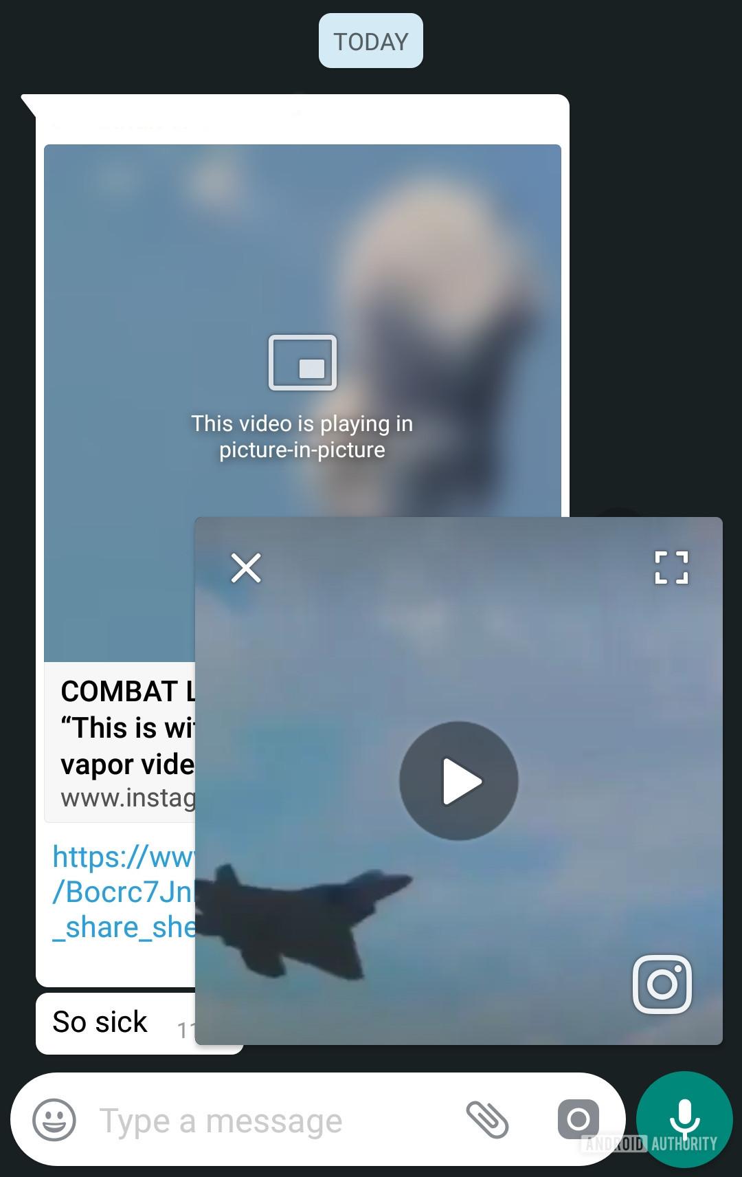 An Instagram video in WhatsApp.