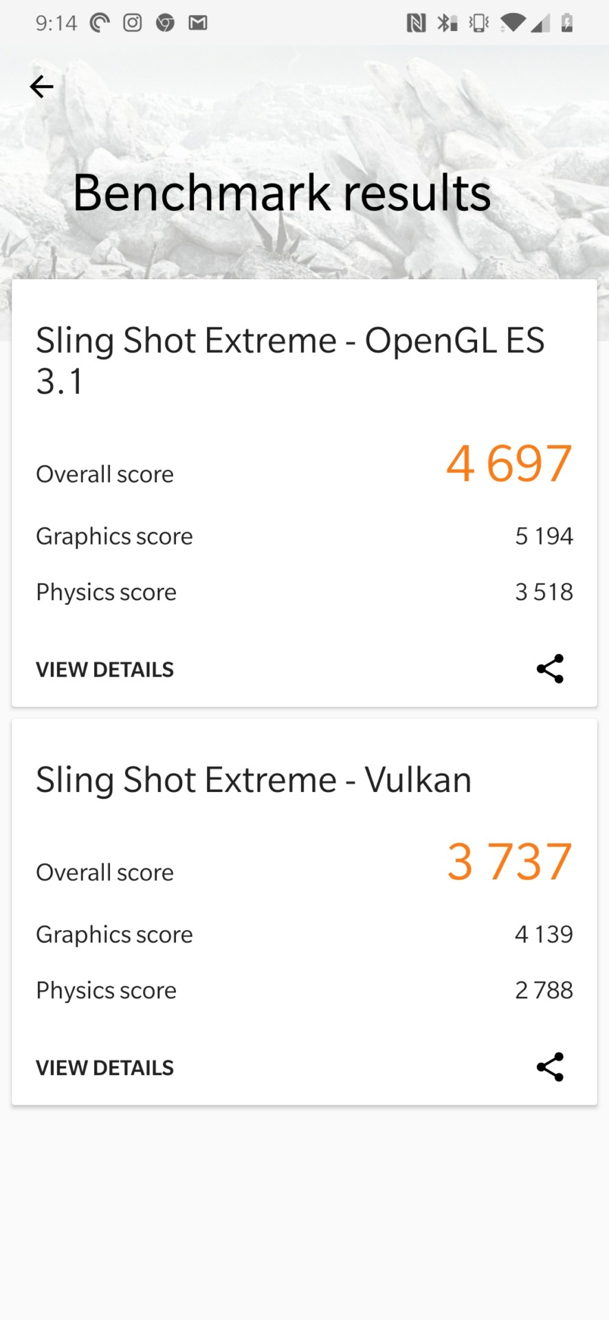 Screenshoot of OnePlus 6T 3D Mark Benchmark results