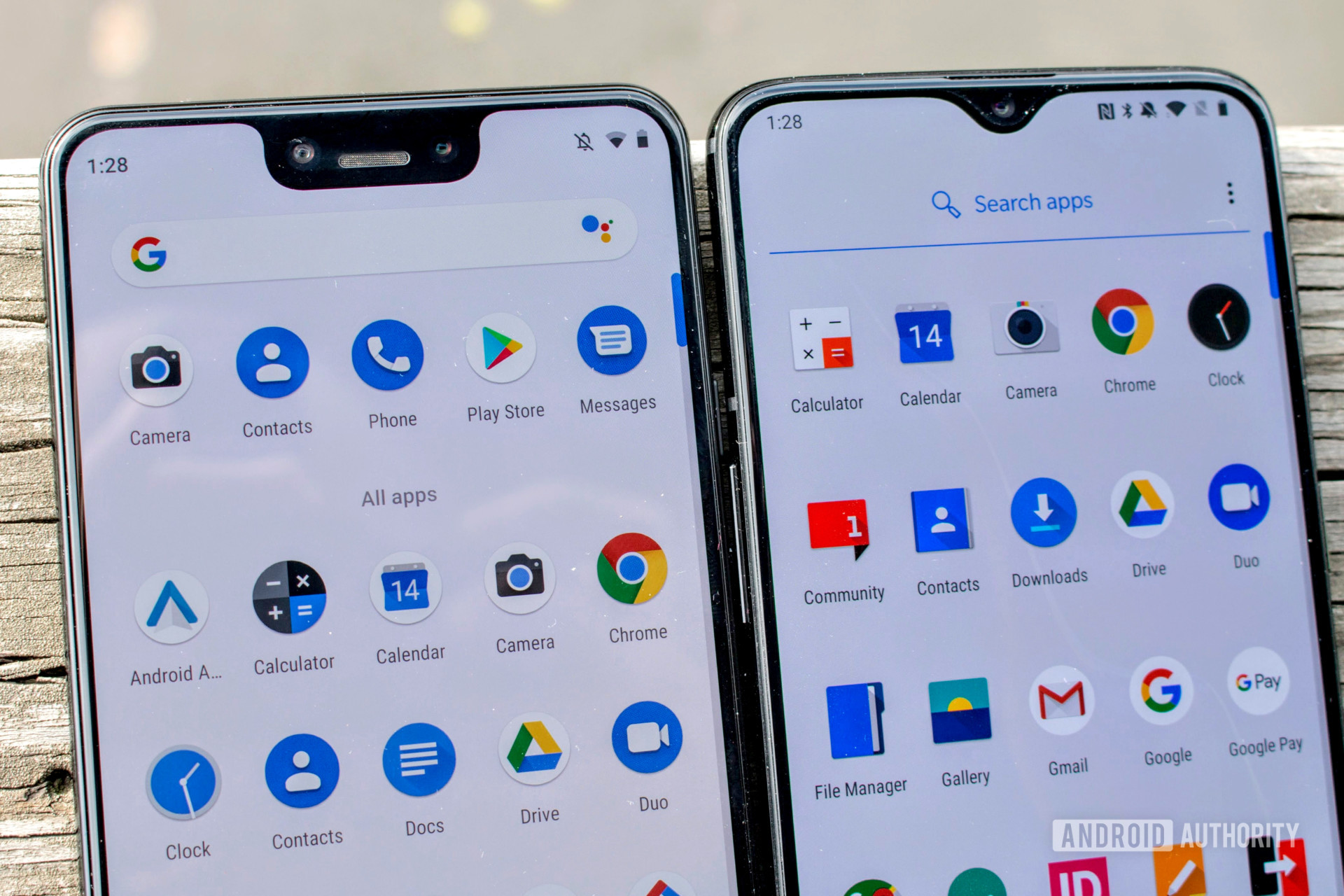 The OnePlus 6T next to the Google Pixel 3 XL.