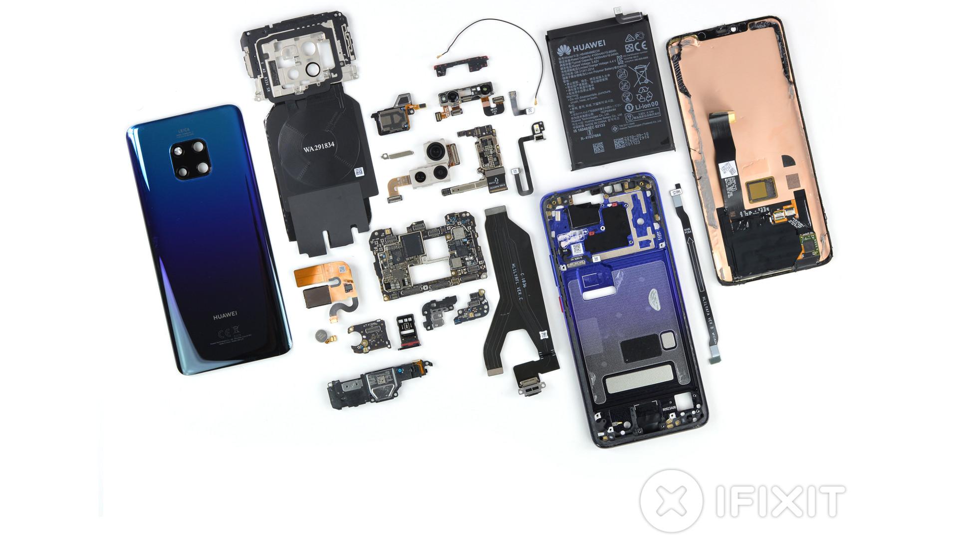 A disassembled Huawei Mate 20 Pro .