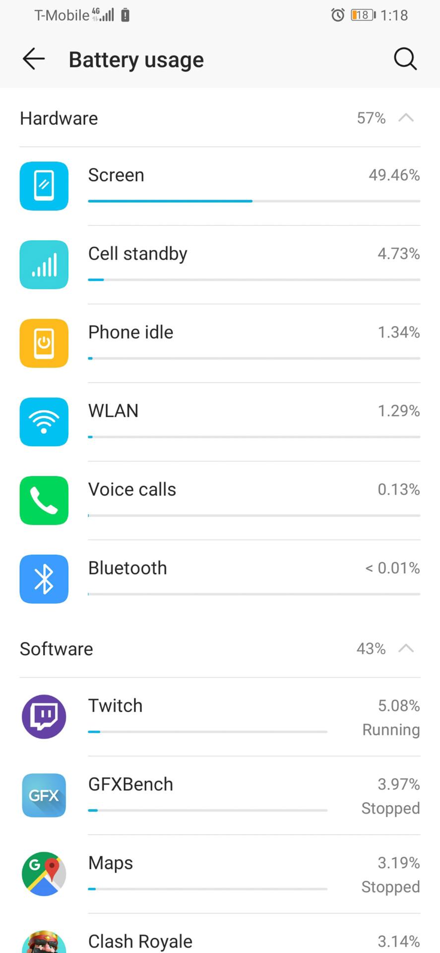 Screenshot of the Honor Magic 2 battery usage